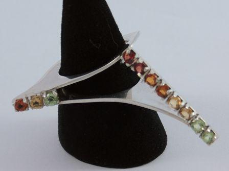 Zilveren ring met rijzetting